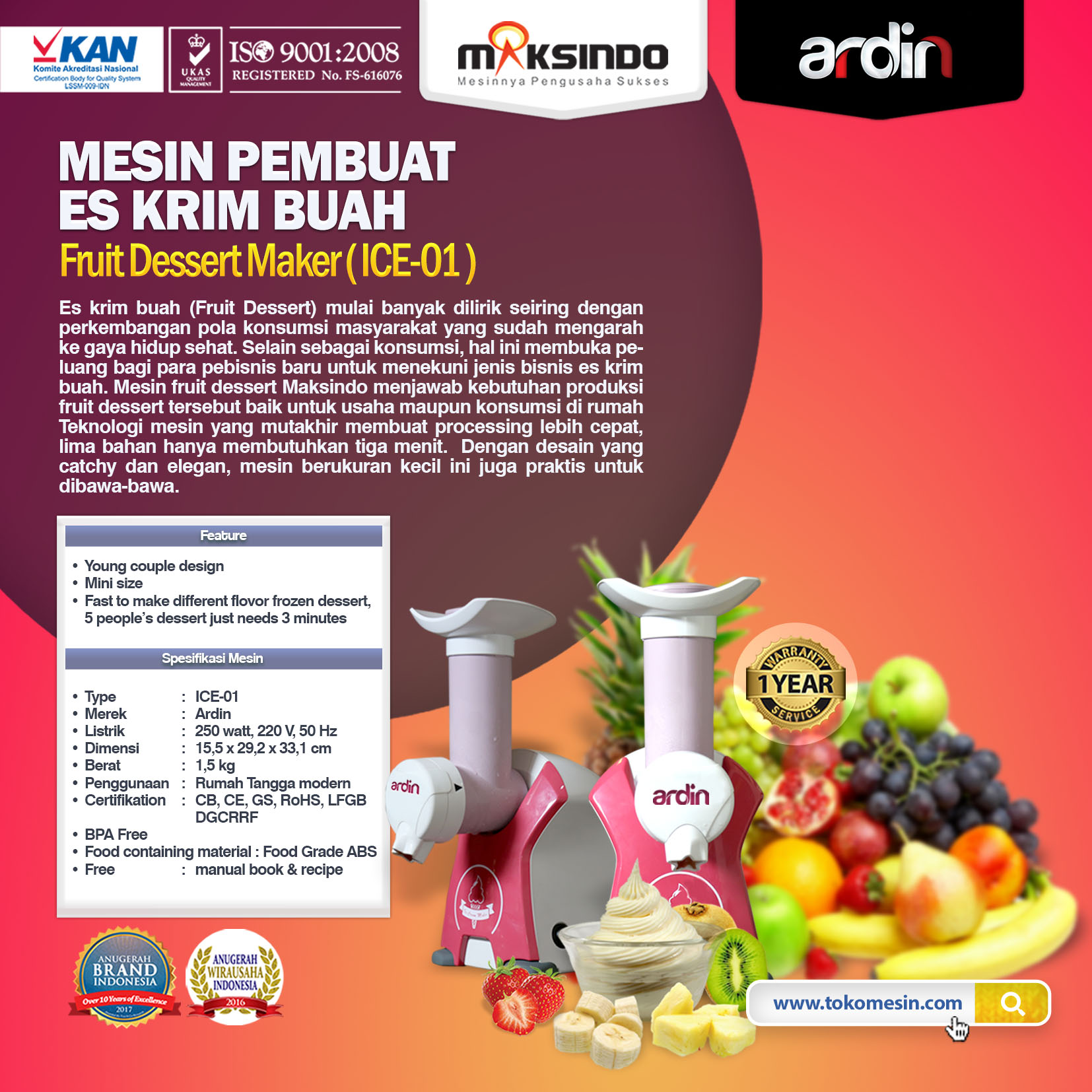 Jual Mesin Es Krim Buah Rumah Tangga di Bogor