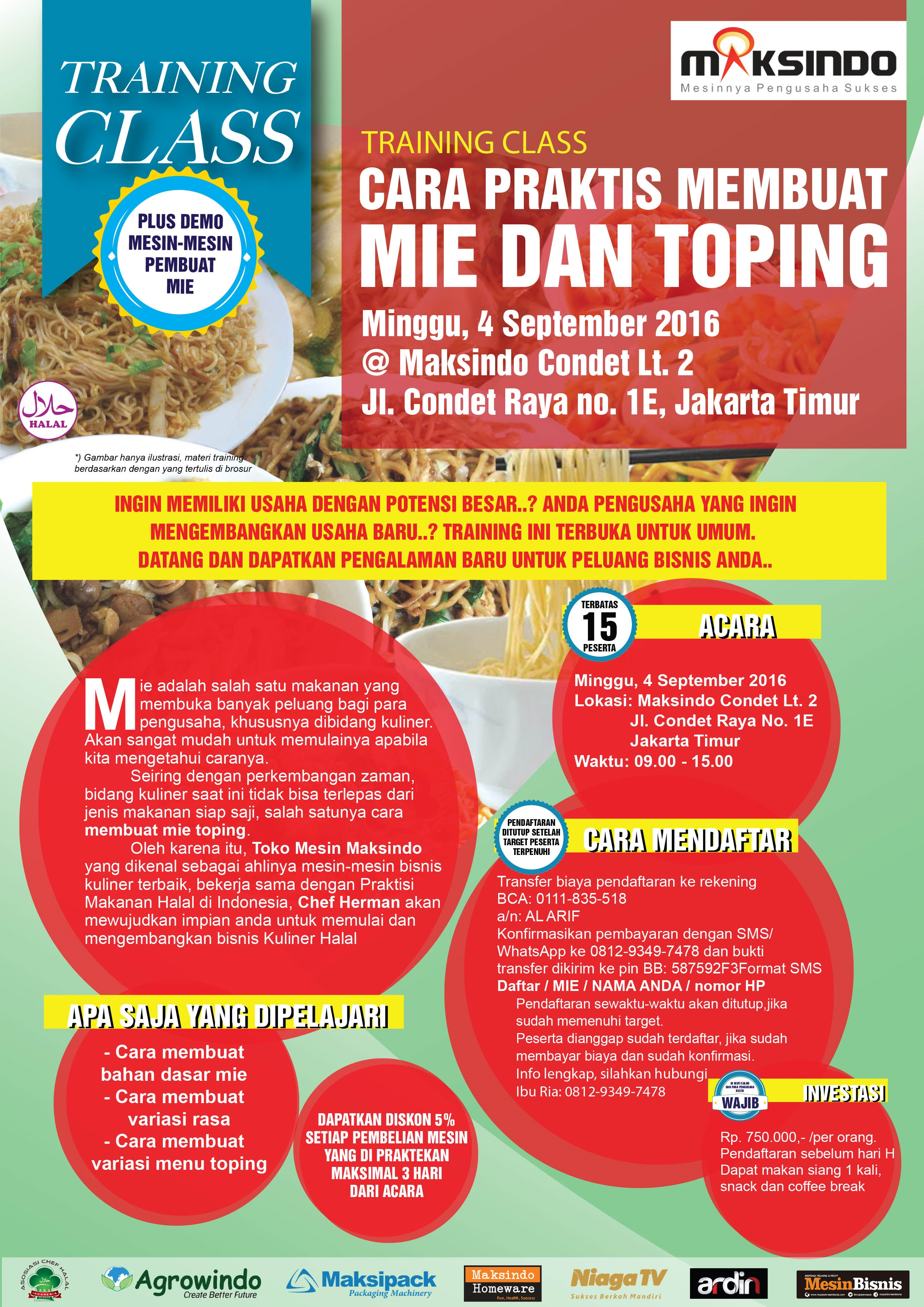 Training Mie Dan Topping di Condet, 4 September 2016