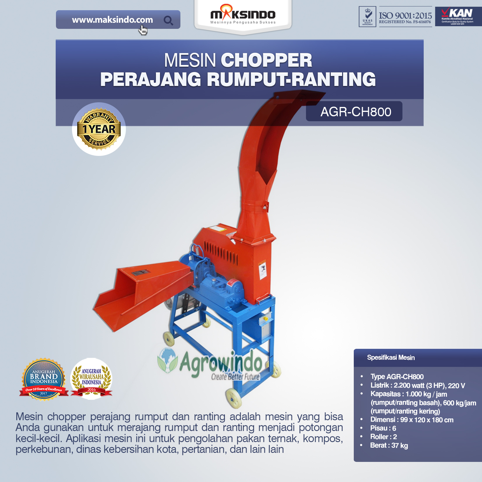 Jual Mesin Chopper Perajang Rumput-Ranting AGR- CH800 di Bogor