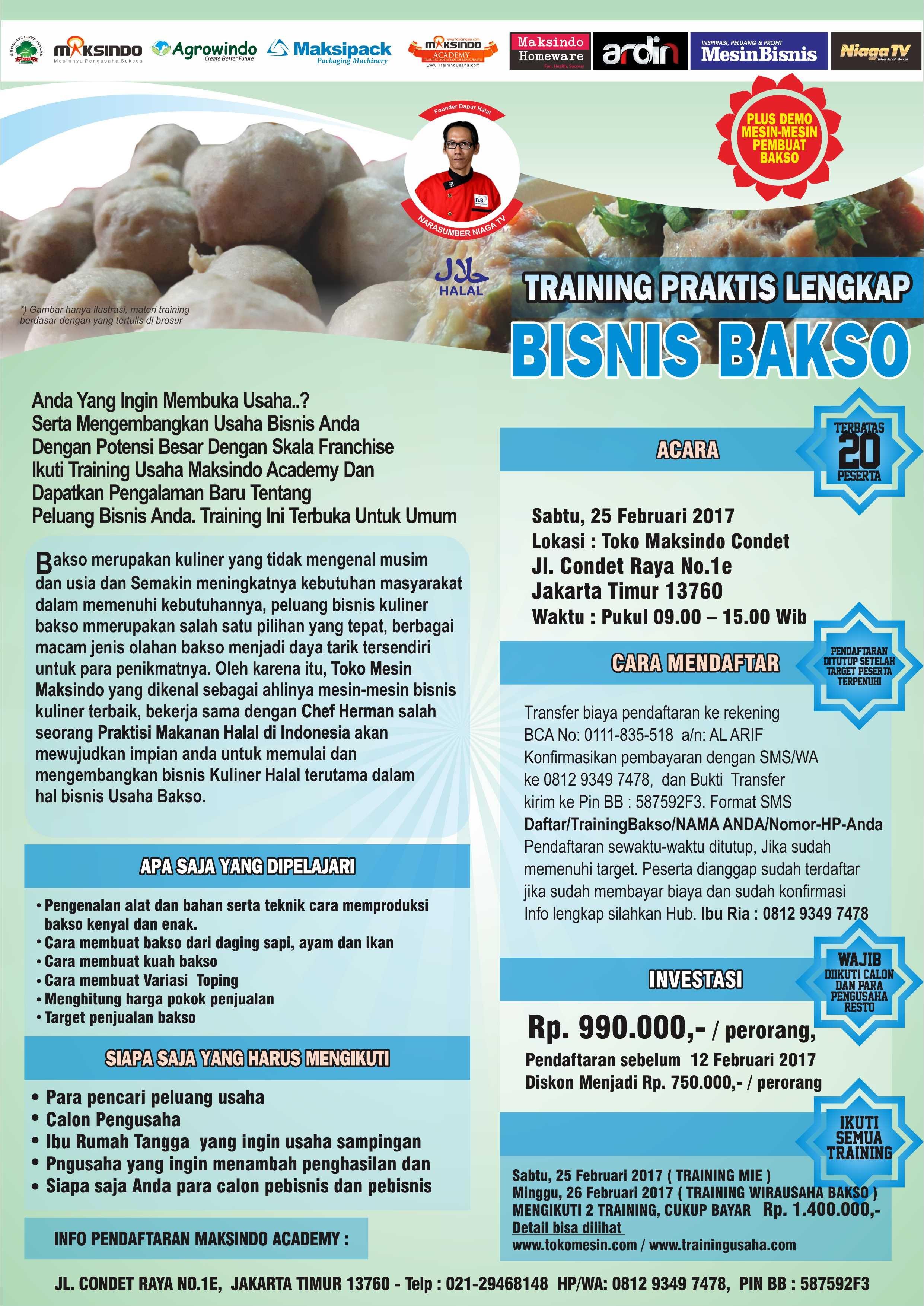 Training Usaha Bakso di Condet, 25 Febuari 2017