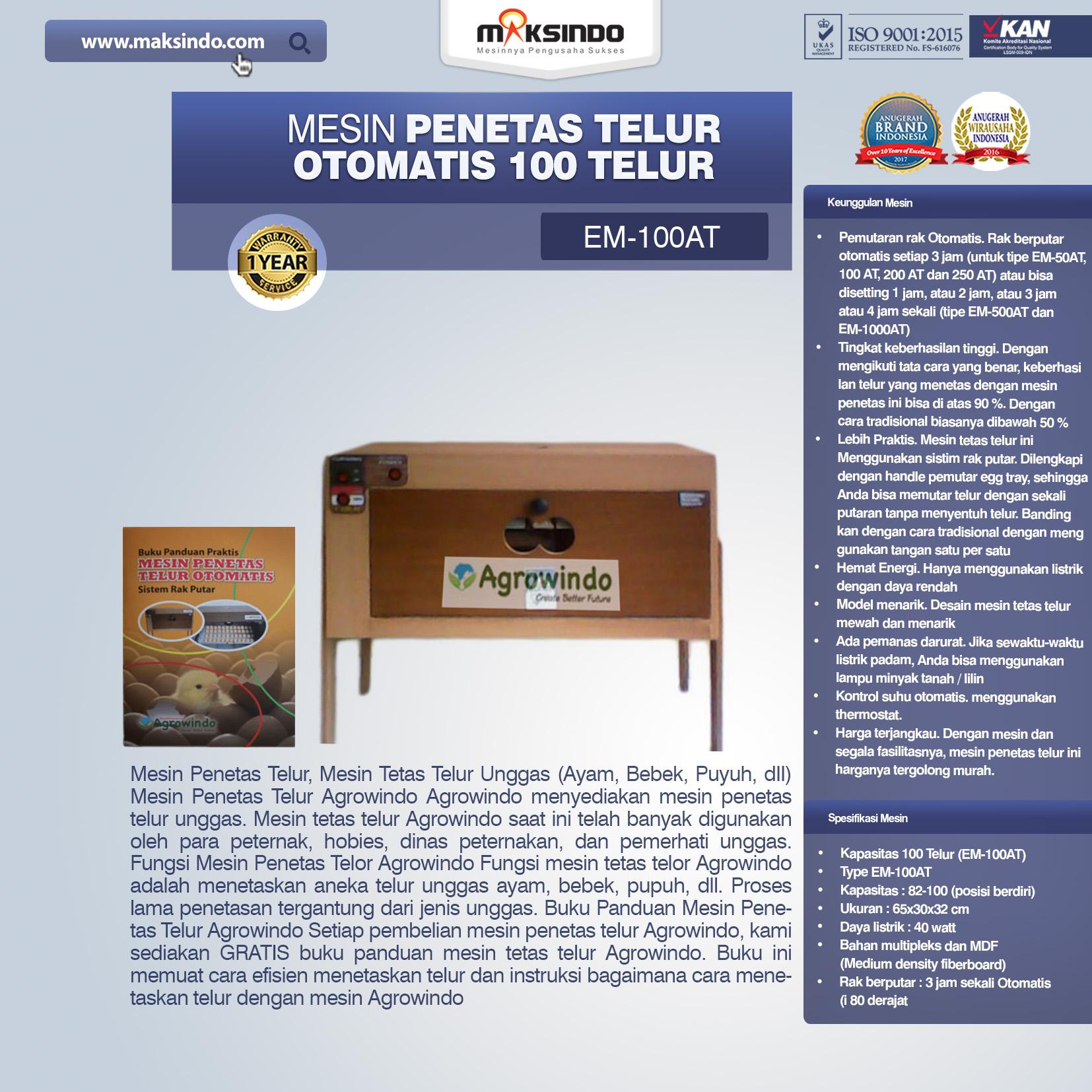 Jual Mesin Penetas Telur Otomatis 100 Telur (EM-100AT) di Bogor