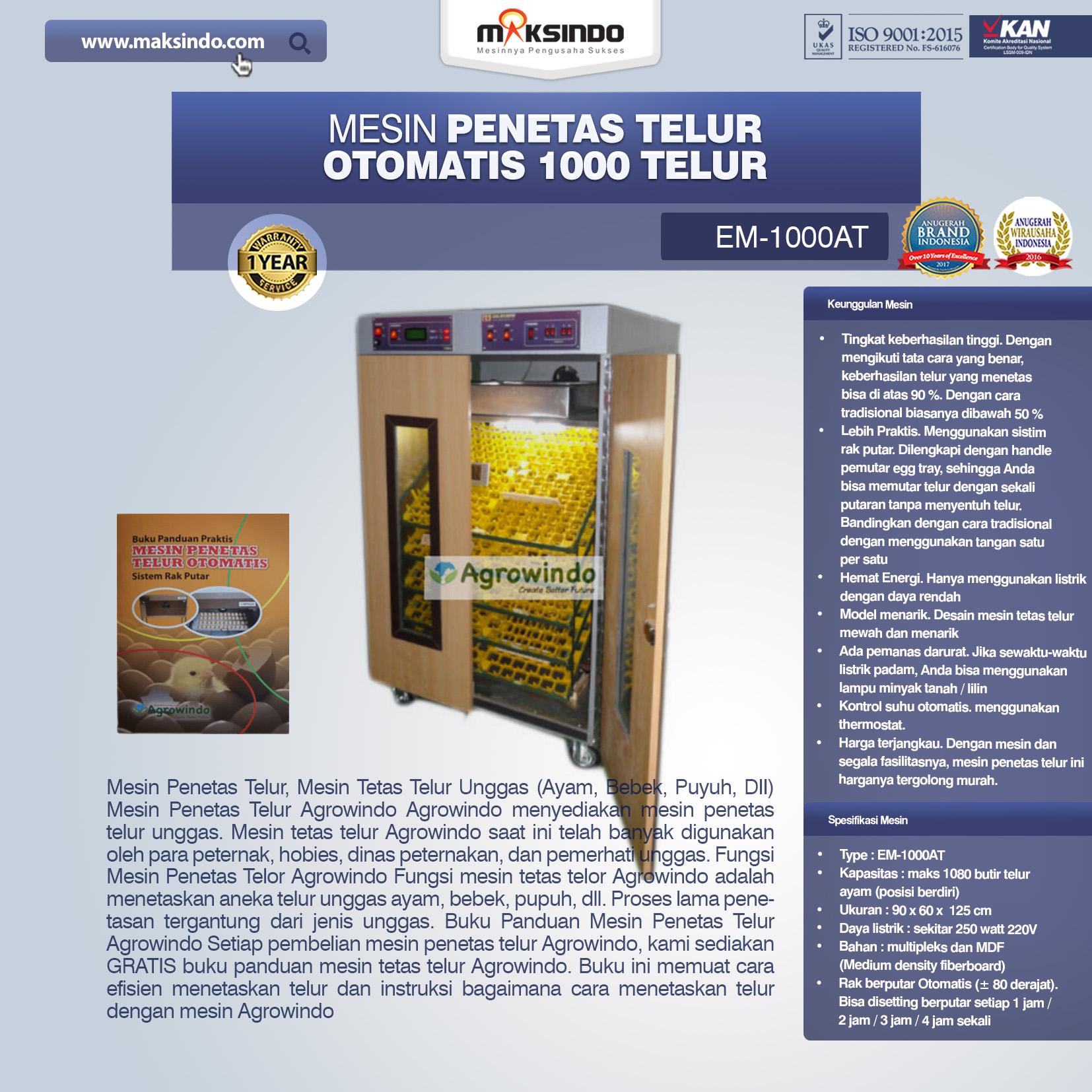 Jual Mesin Penetas Telur Otomatis 1000 Telur (EM-1000AT) di Bogor