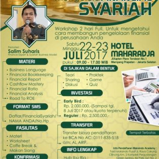 Workshop Mahir Mengelola Financial Syariah 22,23 Juli 2017
