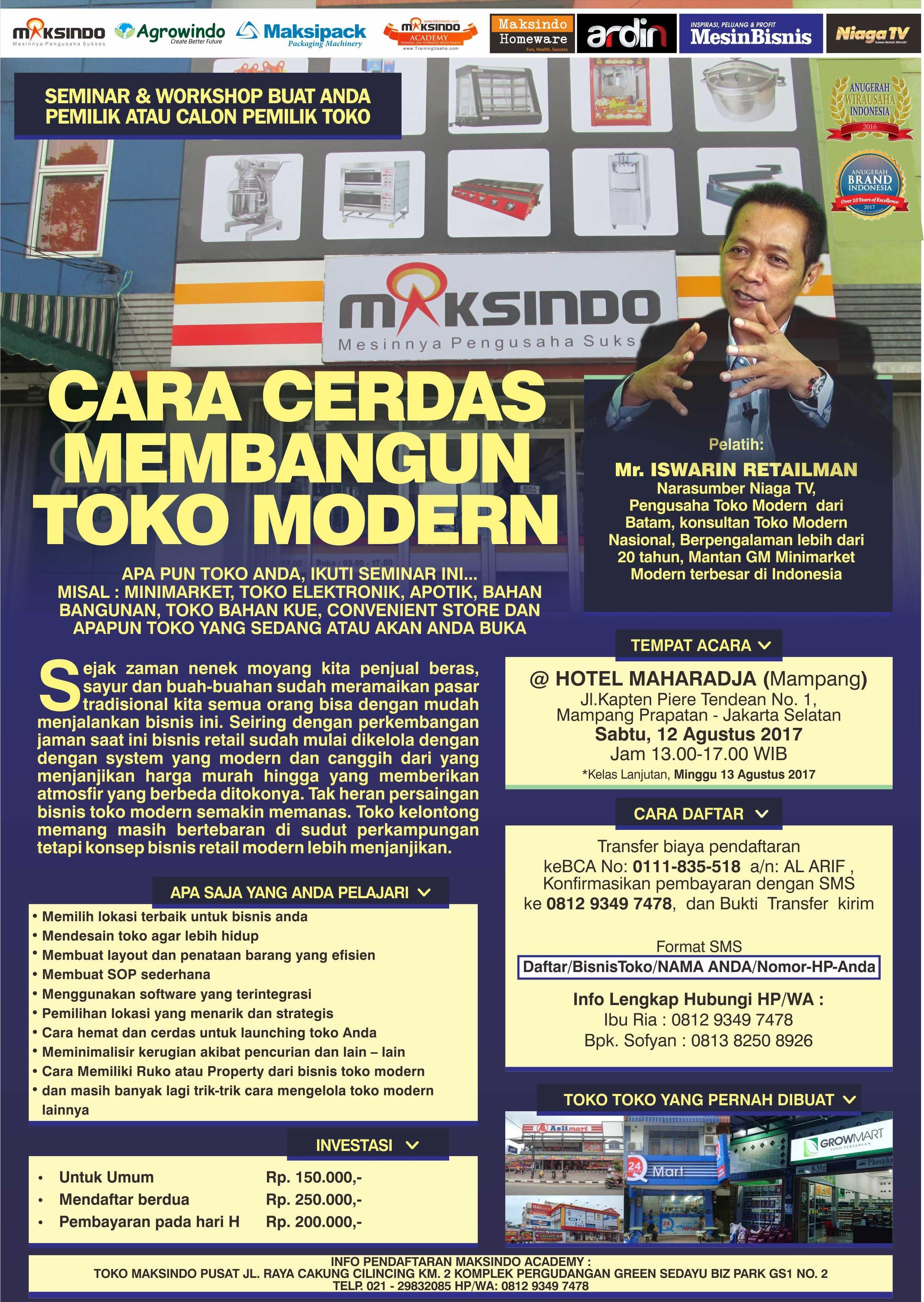 Seminar Cara Cerdas Membangun Toko Modern, 12 Agustus 2017