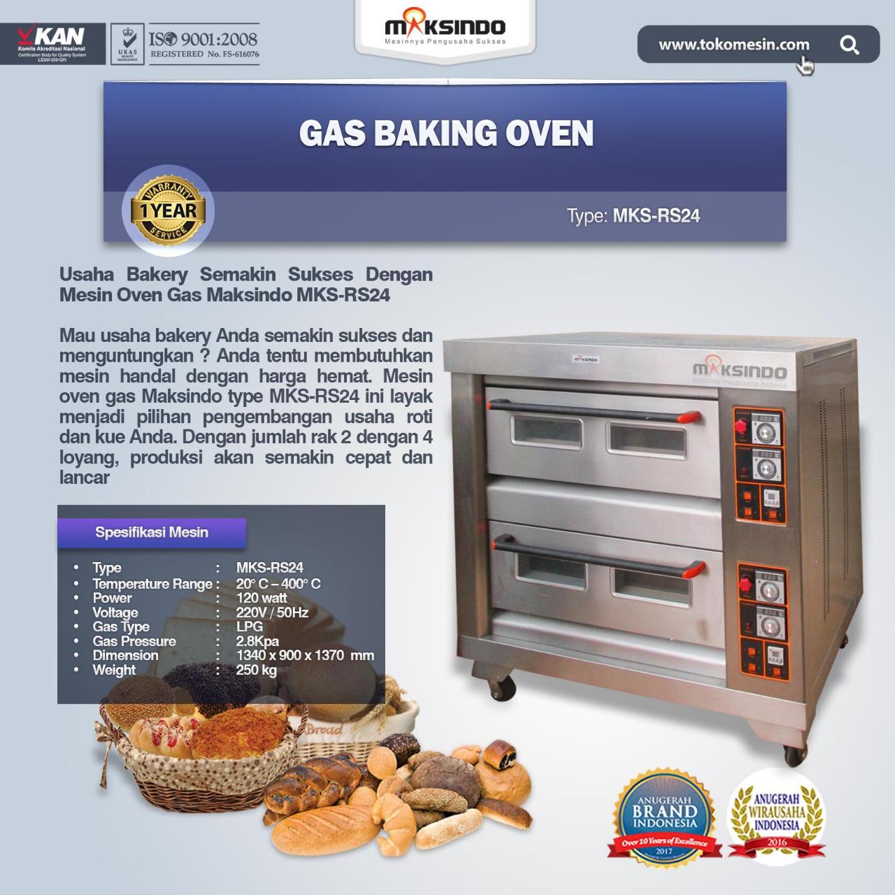 Jual Mesin Oven Roti Gas 4 Loyang MKS RS24 Di Bogor