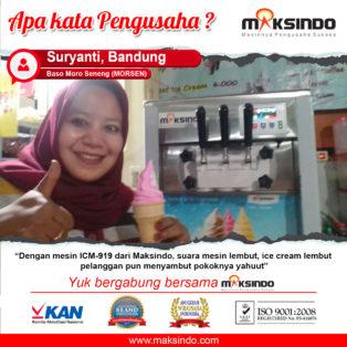 Baso Moro Seneng (MORSEN) : Mesin Es Krim Maksindo Suara Lembut Pelanggan Menyambut