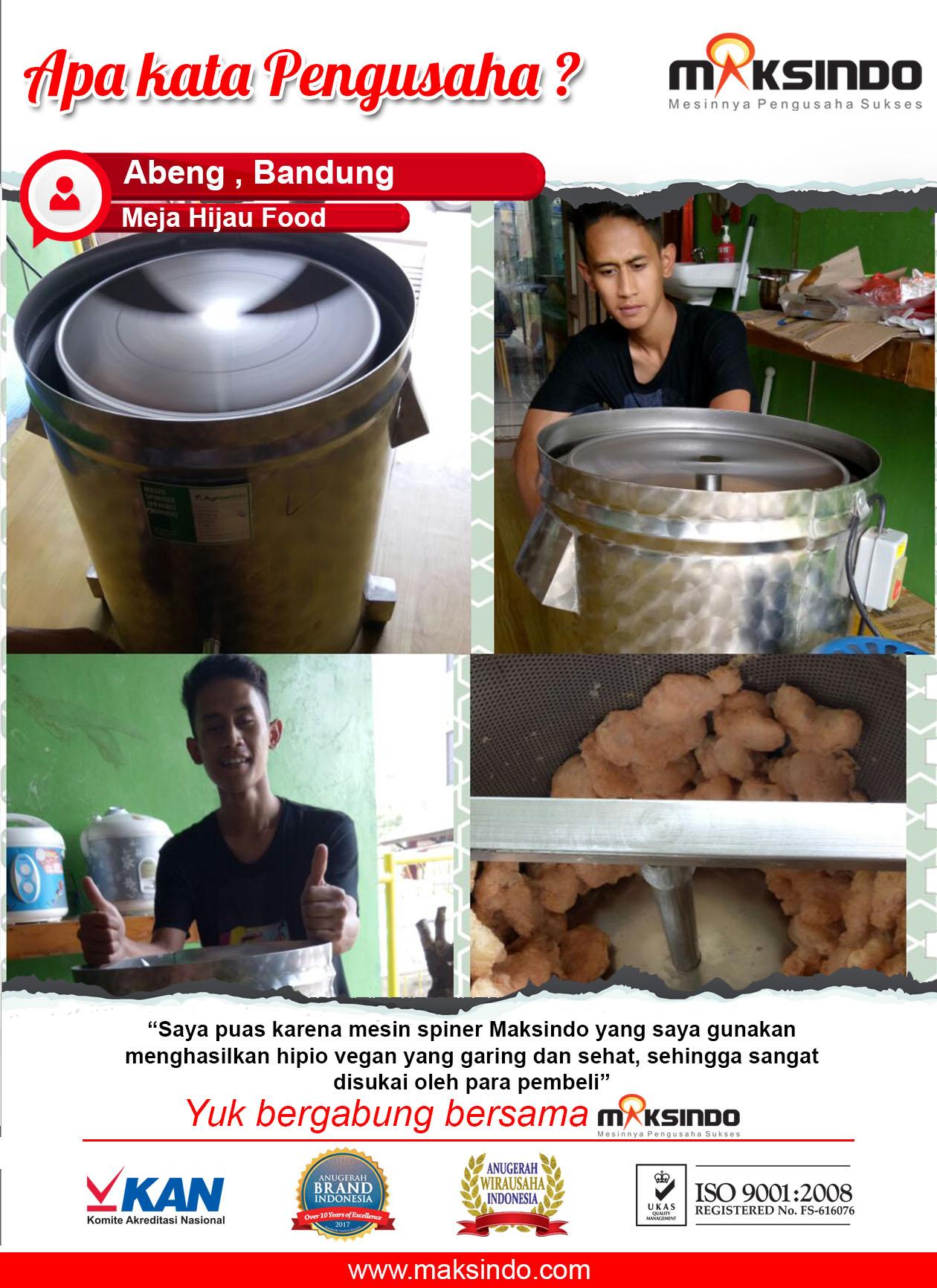 Meja Hijau Food : Hasil Produk Garing dan Sehat dengan Spinner dari Maksindo