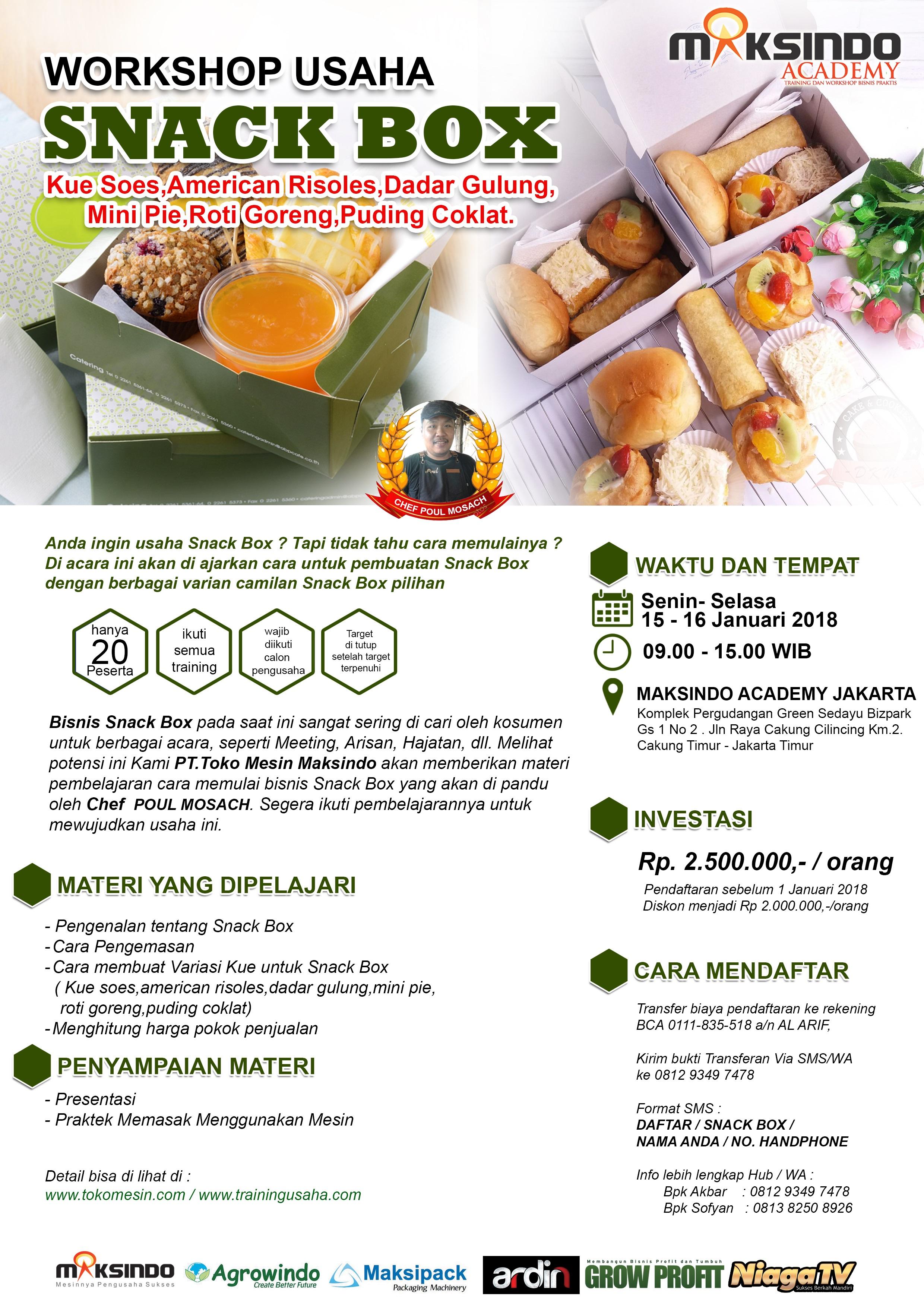 Workshop Usaha Snack Box, 15 – 16 Januari 2017