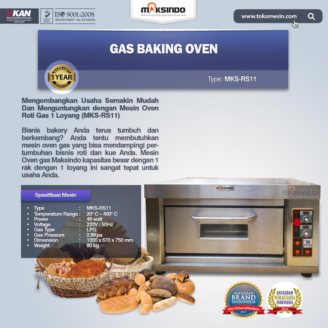 Jual Mesin Oven Roti Gas 1 Loyang (MKS-RS11) di Bogor