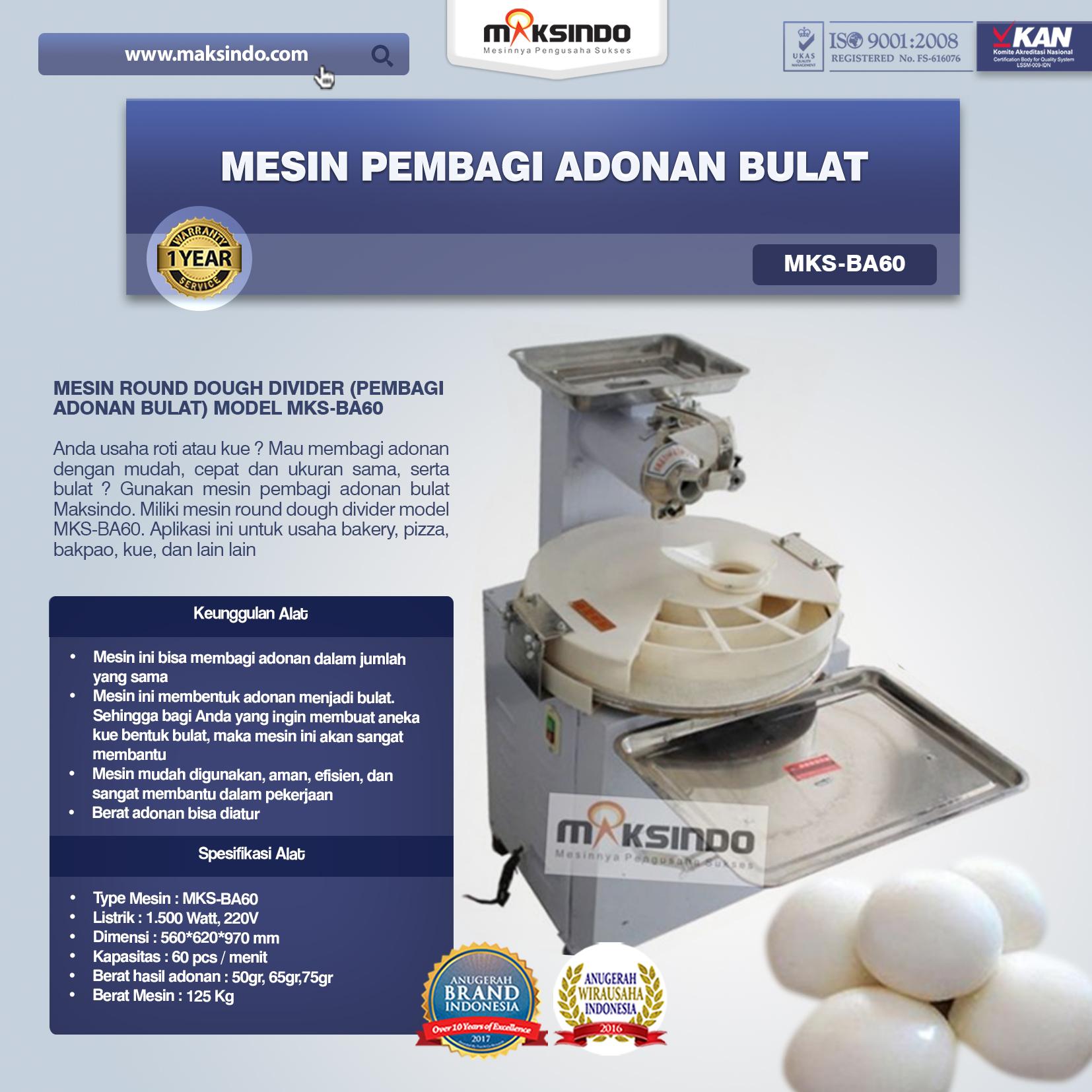 Jual Mesin Pembagi Adonan Bulat (MKS-BA60) di Bogor