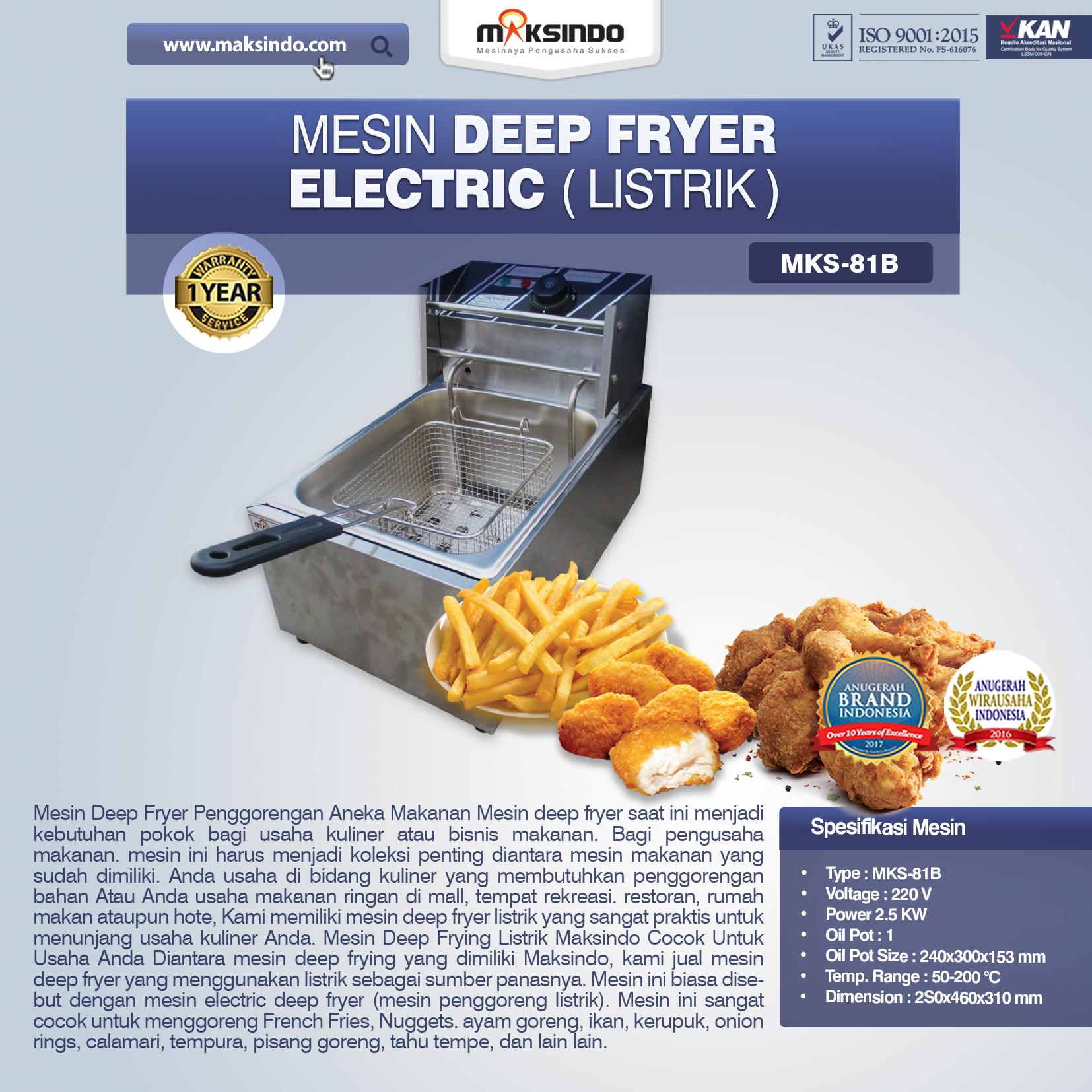 Jual  Mesin Deep Fryer Listrik MKS-81B  di Bogor