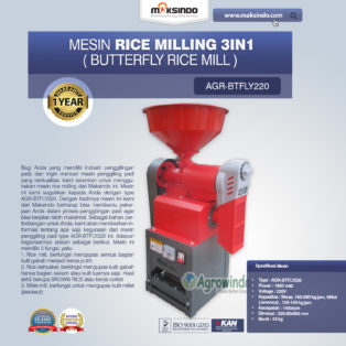 Jual Mesin Rice Milling 3in1 (Butterfly Rice Mill) AGR-BTFLY220 di Bogor