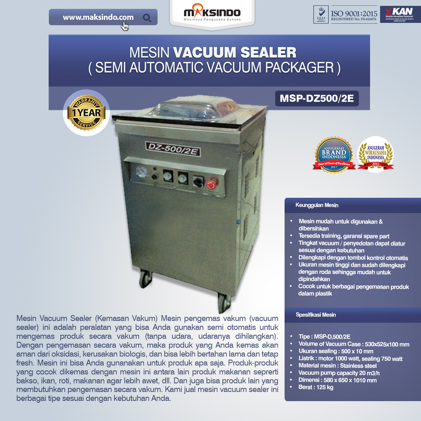 Jual Mesin Vacuum Sealer (MSP-DZ500/2E) di Bogor