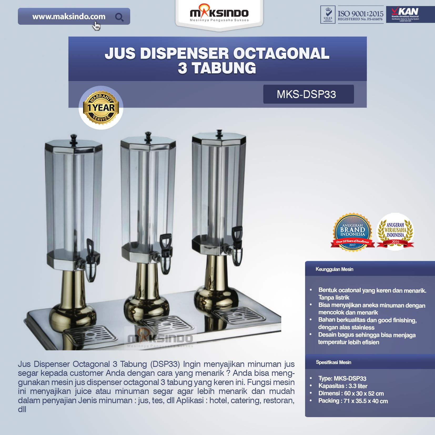 Jual Jus Dispenser Octagonal 3 Tabung (DSP33) di Bogor