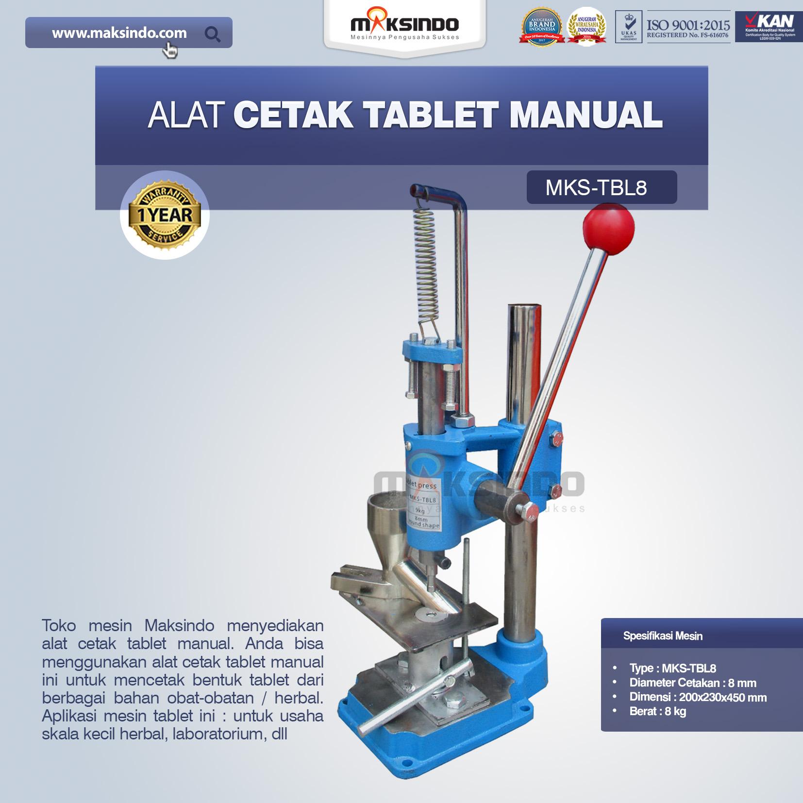 Jual Alat Cetak Tablet ManualMKS-TBL8 di Bogor