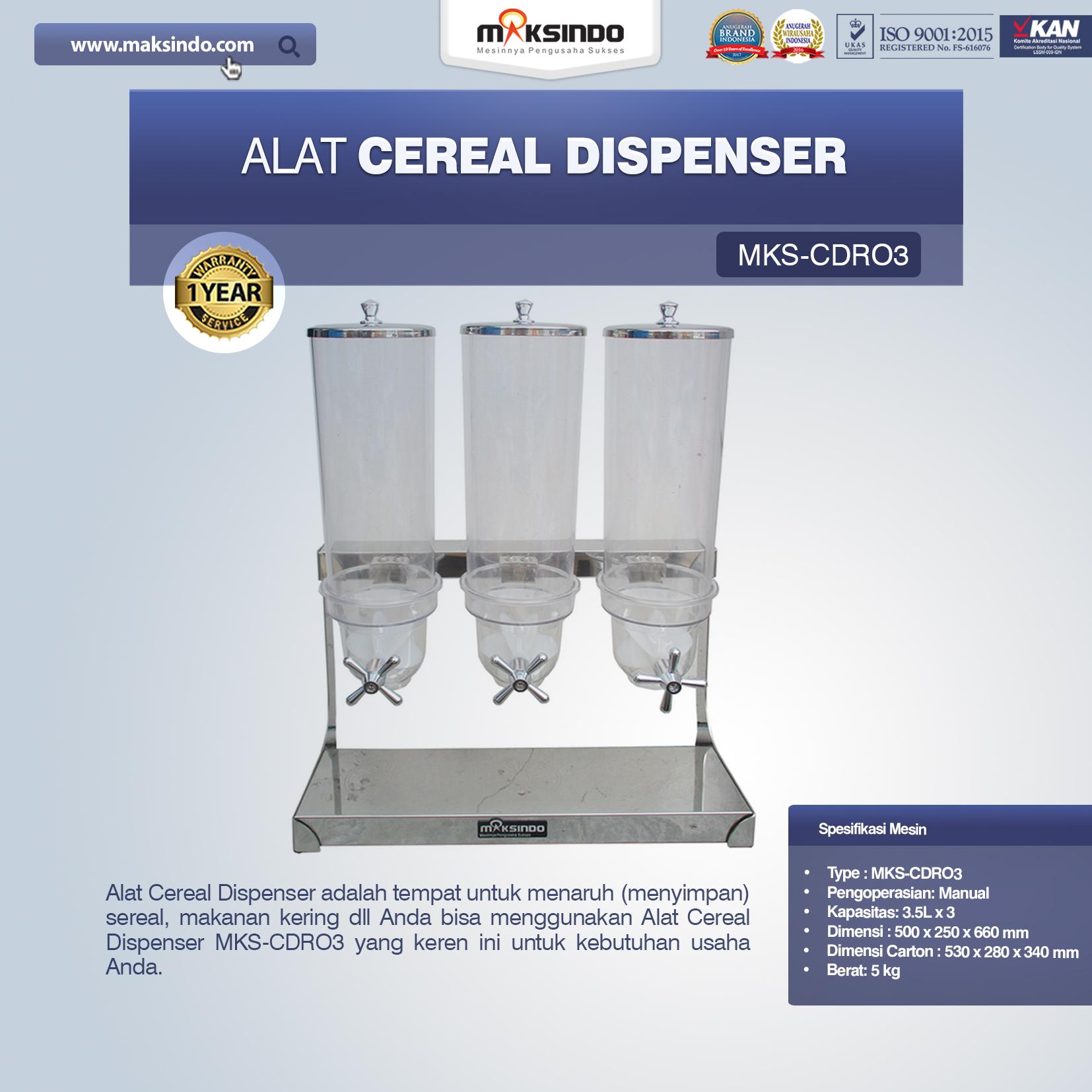 Jual Alat Cereal Dispenser MKS-CDR03 di Bogor