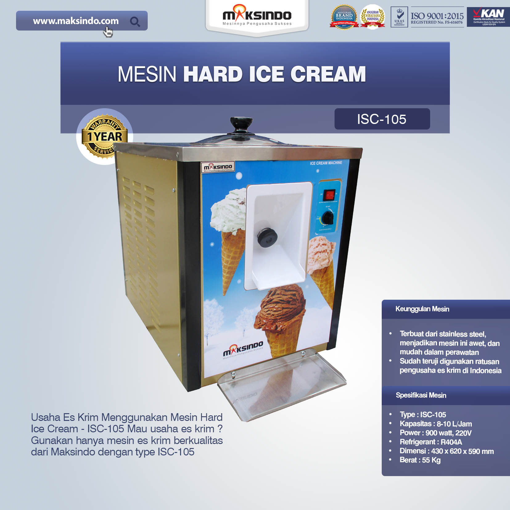 Jual Mesin Hard Ice Cream – ISC-105 di Bogor