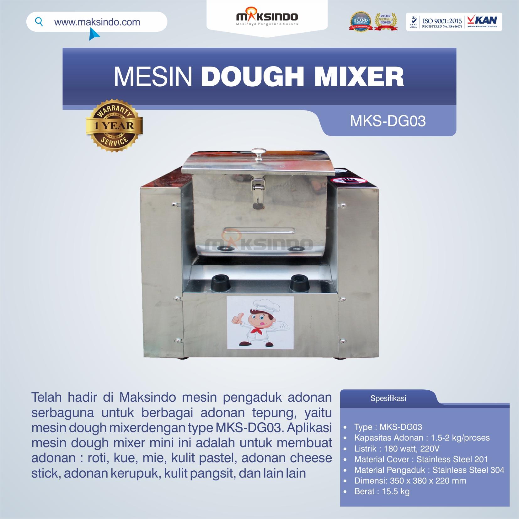 Jual Mesin Dough Mixer MKS-DG03 di Bogor