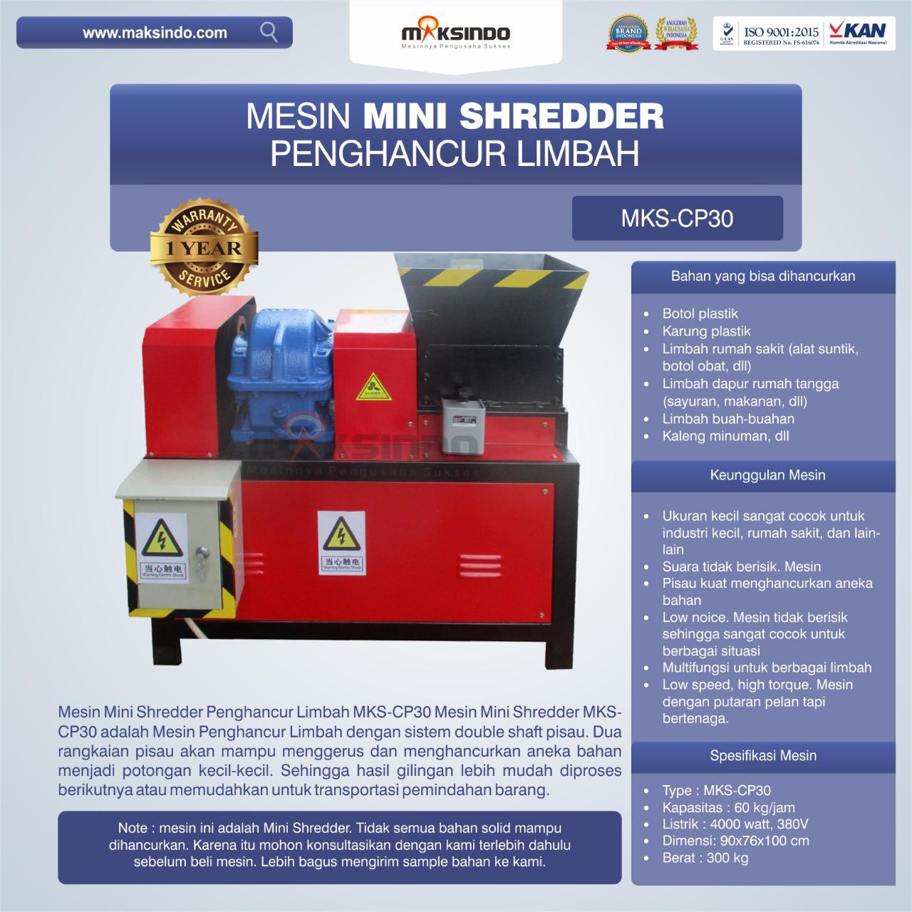 Jual Mesin Penghancur Plastik MKS-CP30 di Bogor