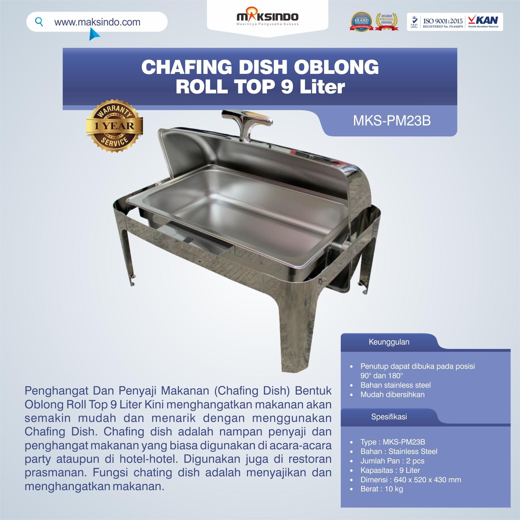 Jual Chafing Dish Oblong Roll Top – 9 Liter di Bogor