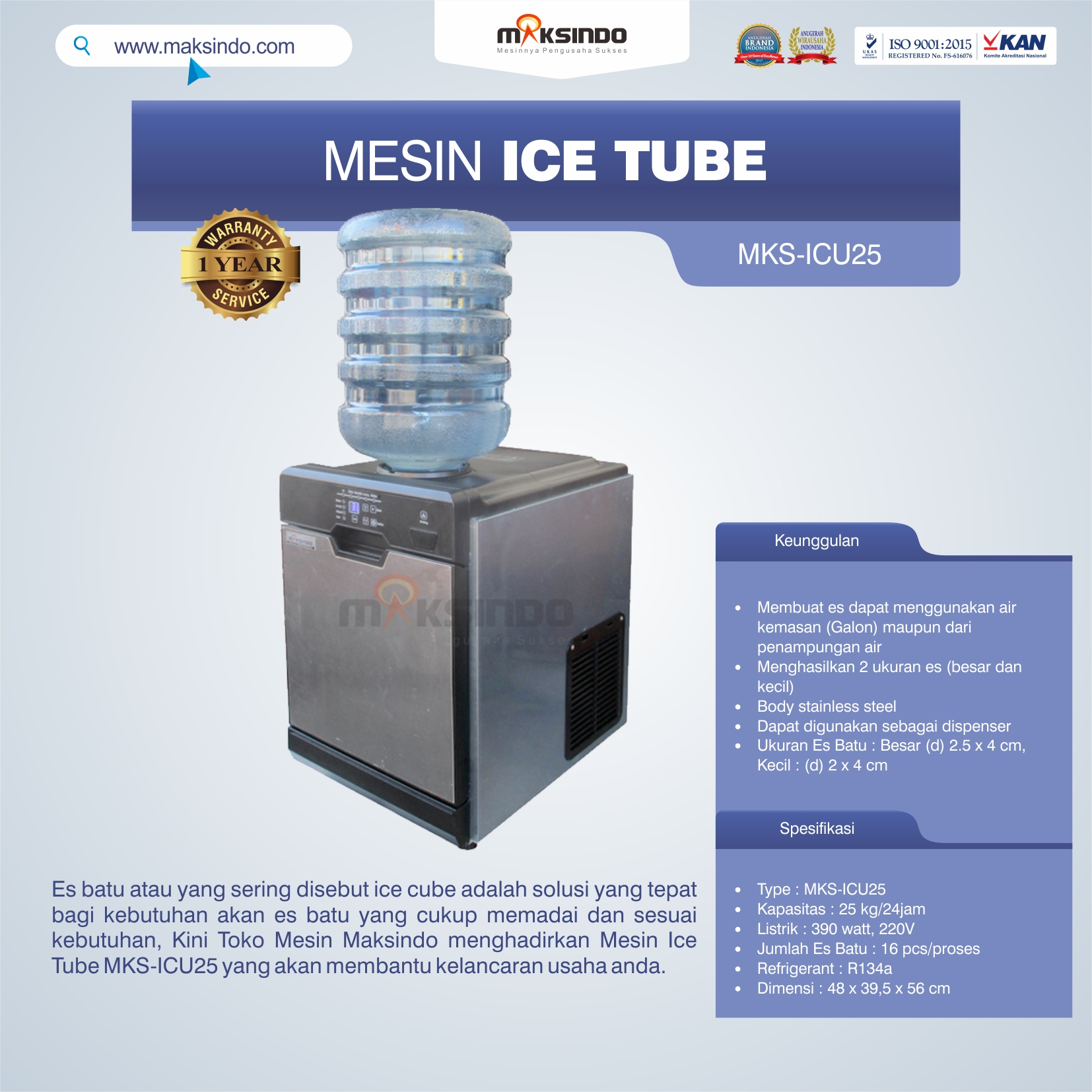 Jual Mesin Ice Tube MKS-ICU25 di Bogor