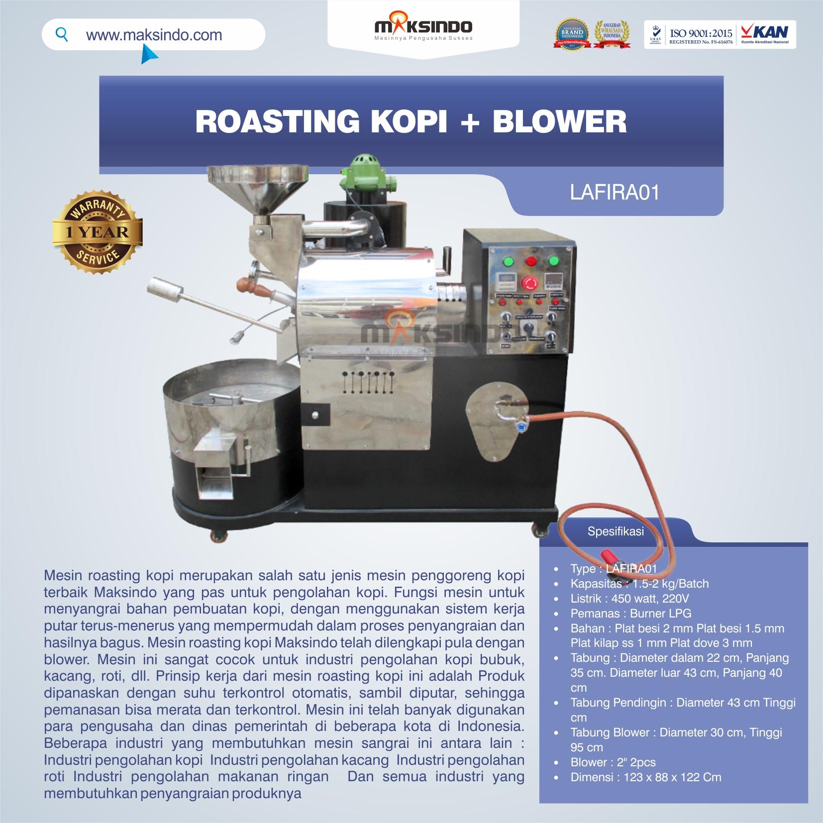 Jual Roasting Kopi + Blower LAFIRA01 di Bogor