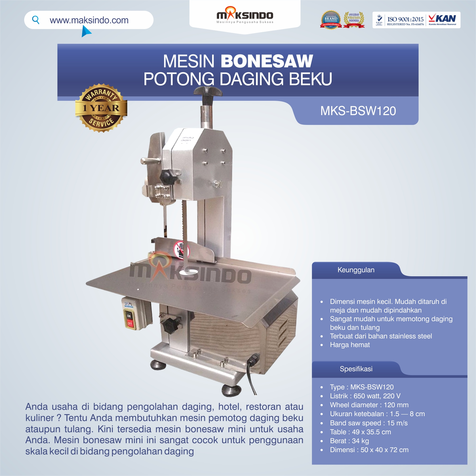 Jual Bonesaw Pemotong Daging Beku (MKS-BSW120) di Bogor