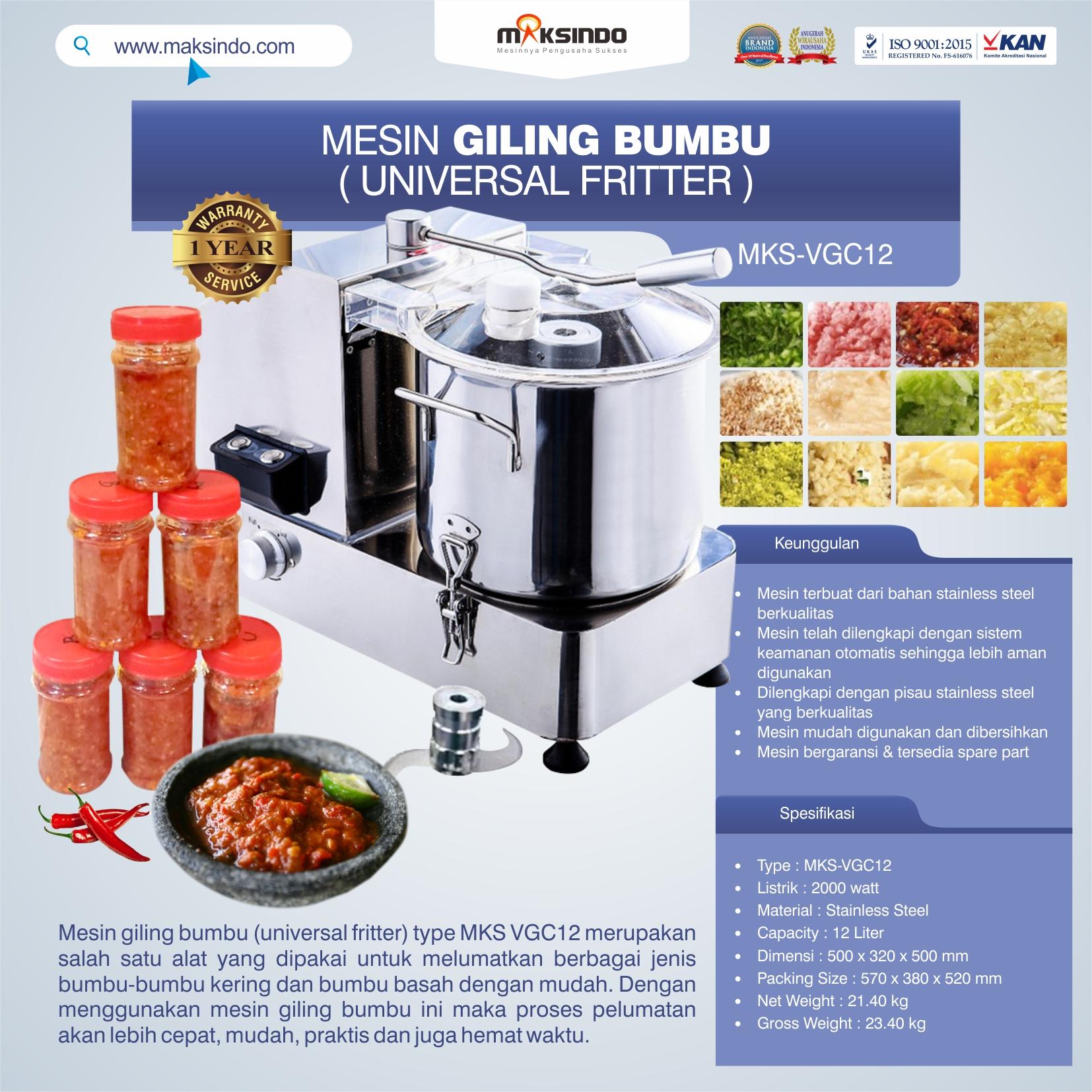 Jual Mesin Giling Bumbu (Universal Fritter) MKS VGC12 di Bogor