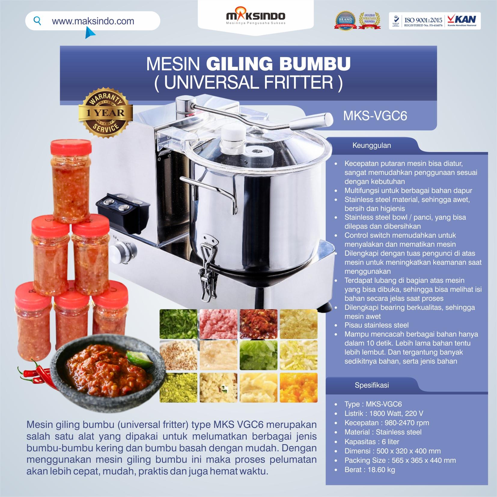 Jual Mesin Universal Fritter 6 liter (VGC6) di Bogor