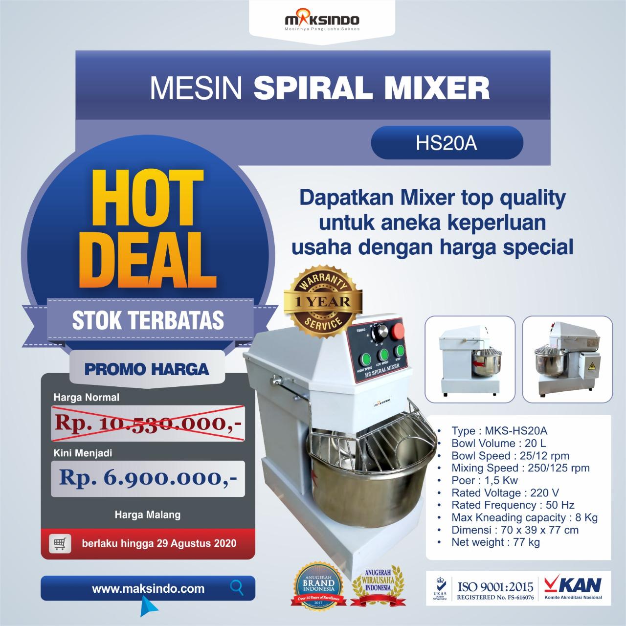 Jual Mesin Mixer Roti SPIRAL MKS-HS20A di Bogor