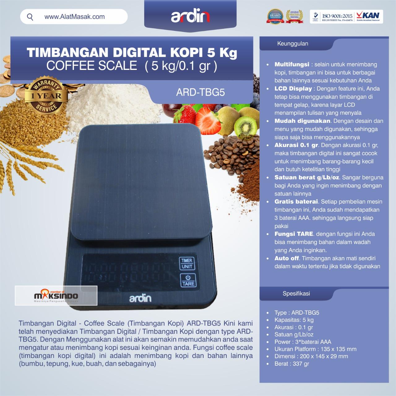 Jual Timbangan Digital Kopi 5 kg ARD-TBG5 (coffee scale) di Bogor
