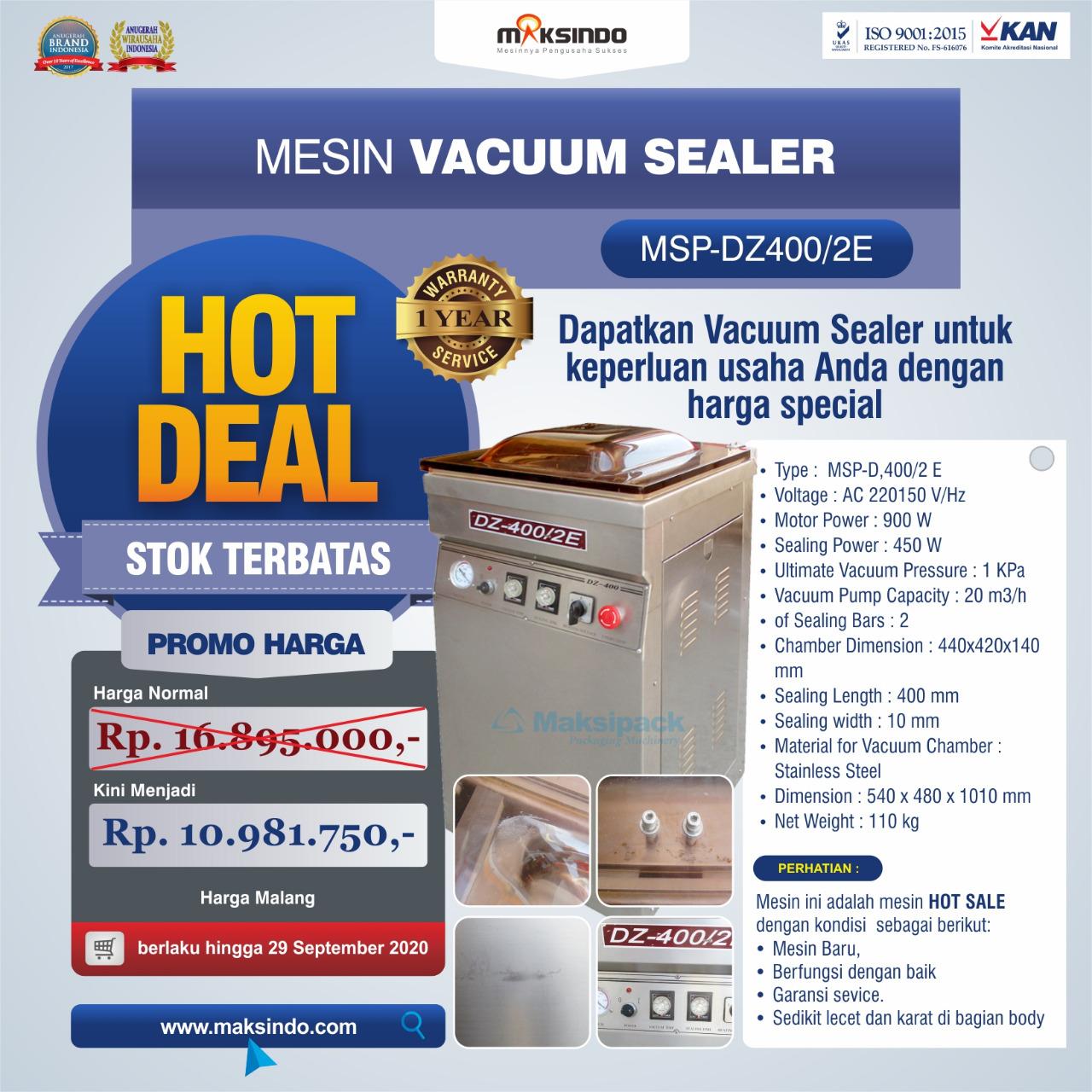 Jual Hot Deal Mesin Vacuum Sealer Type MSP-DZ400/2 E di Bogor