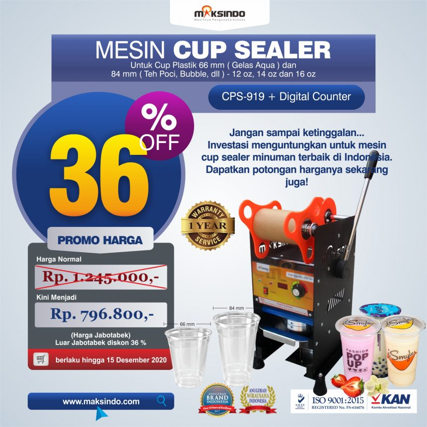 Jual Cup Sealer Manual plus Counter (CPS-919) di Bogor