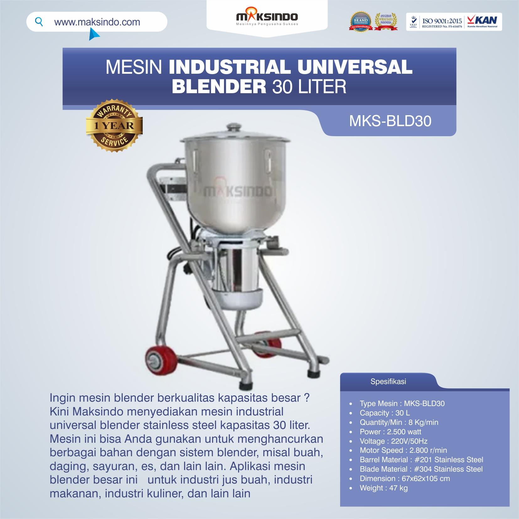 Jual Industrial Universal Blender 30 Liter MKS-BLD30 di Bogor