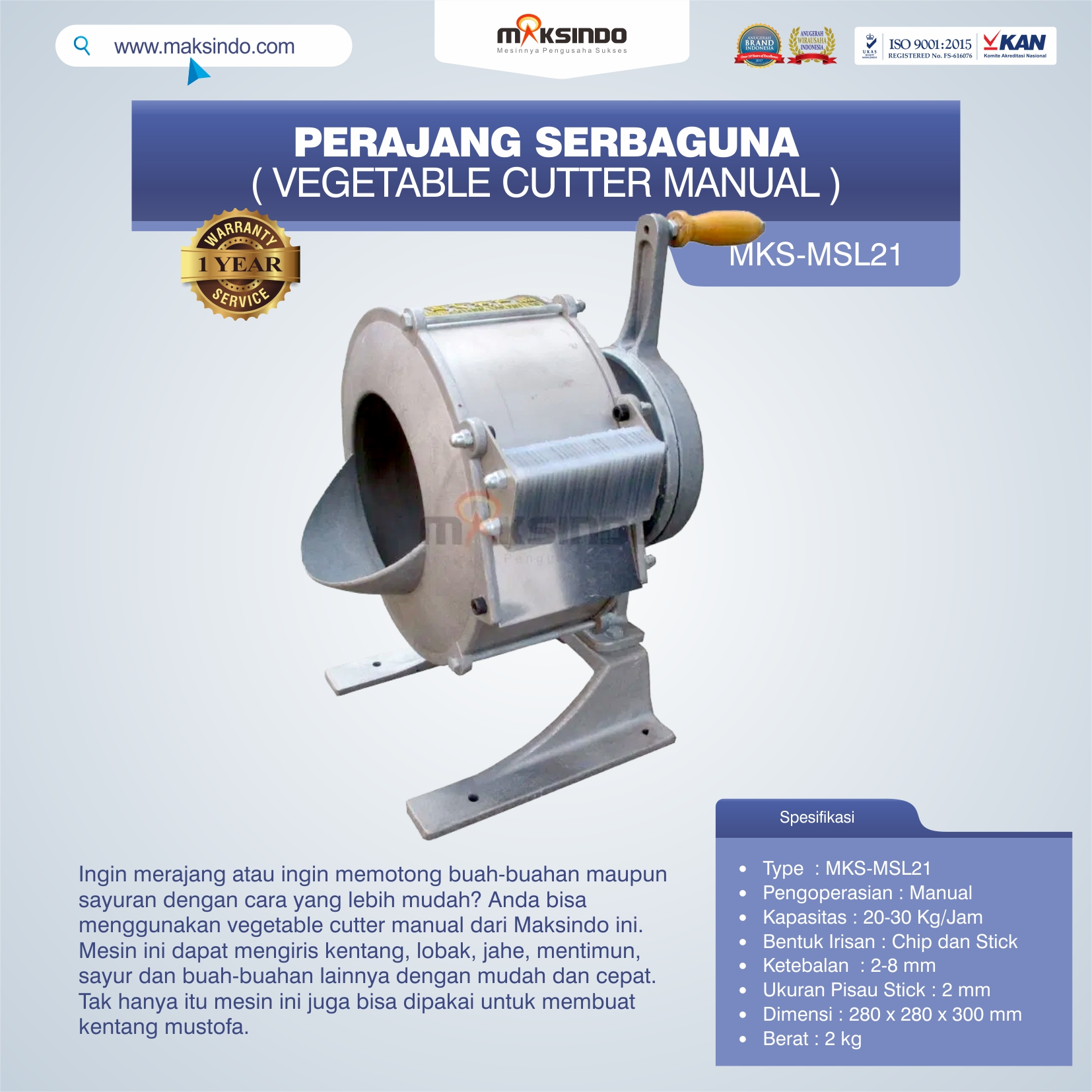Jual Vegetable Cutter Manual MKS-MSL21 Di Bogor