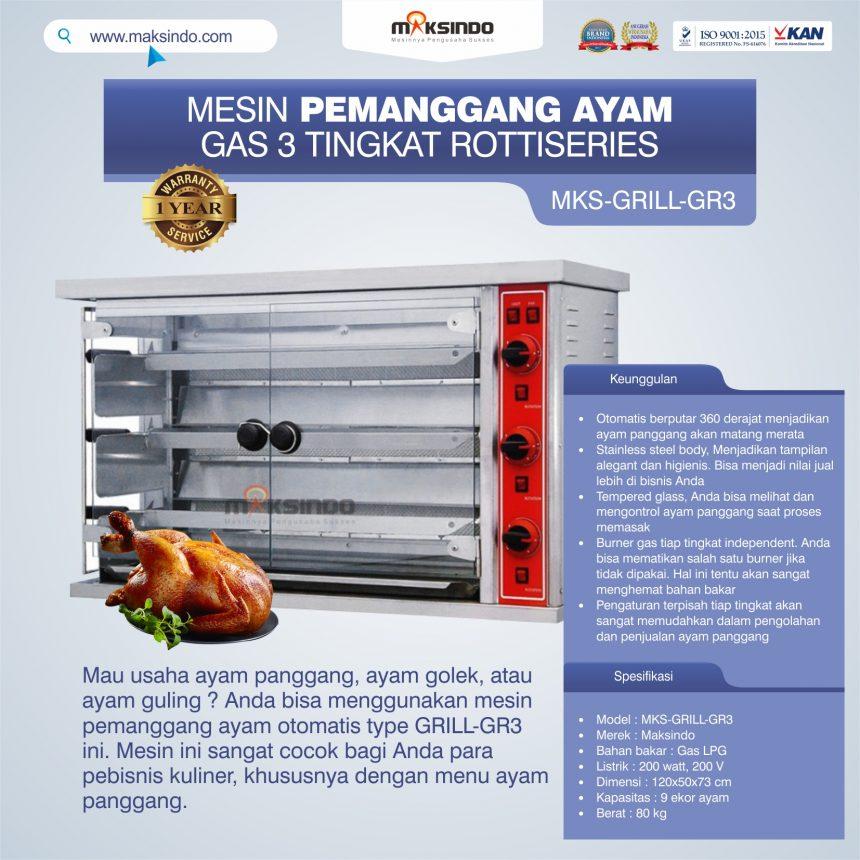 Jual Mesin Pemanggang Ayam Gas 3 Tingkat Rottiseries (GRILL-GR3) di Bogor