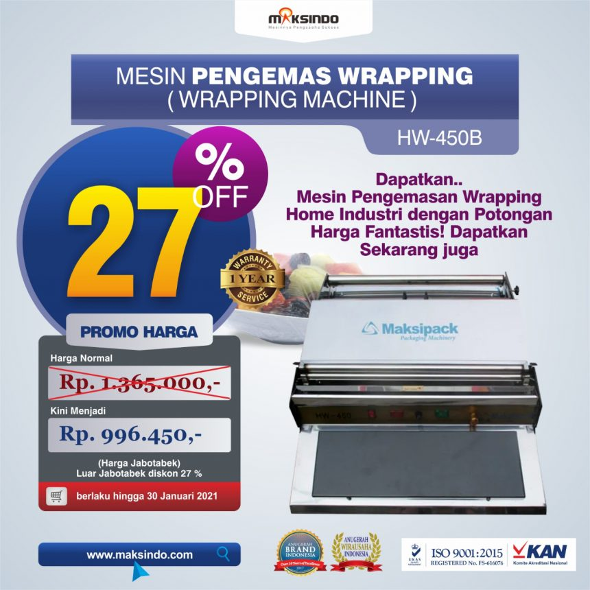 Jual Mesin Wrapping Makanan HW-450B di Bogor