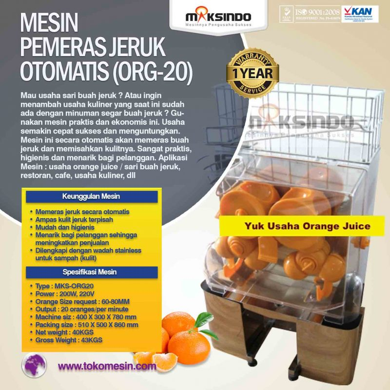 Jual Mesin Pemeras Jeruk Otomatis (ORG-20) di Bogor