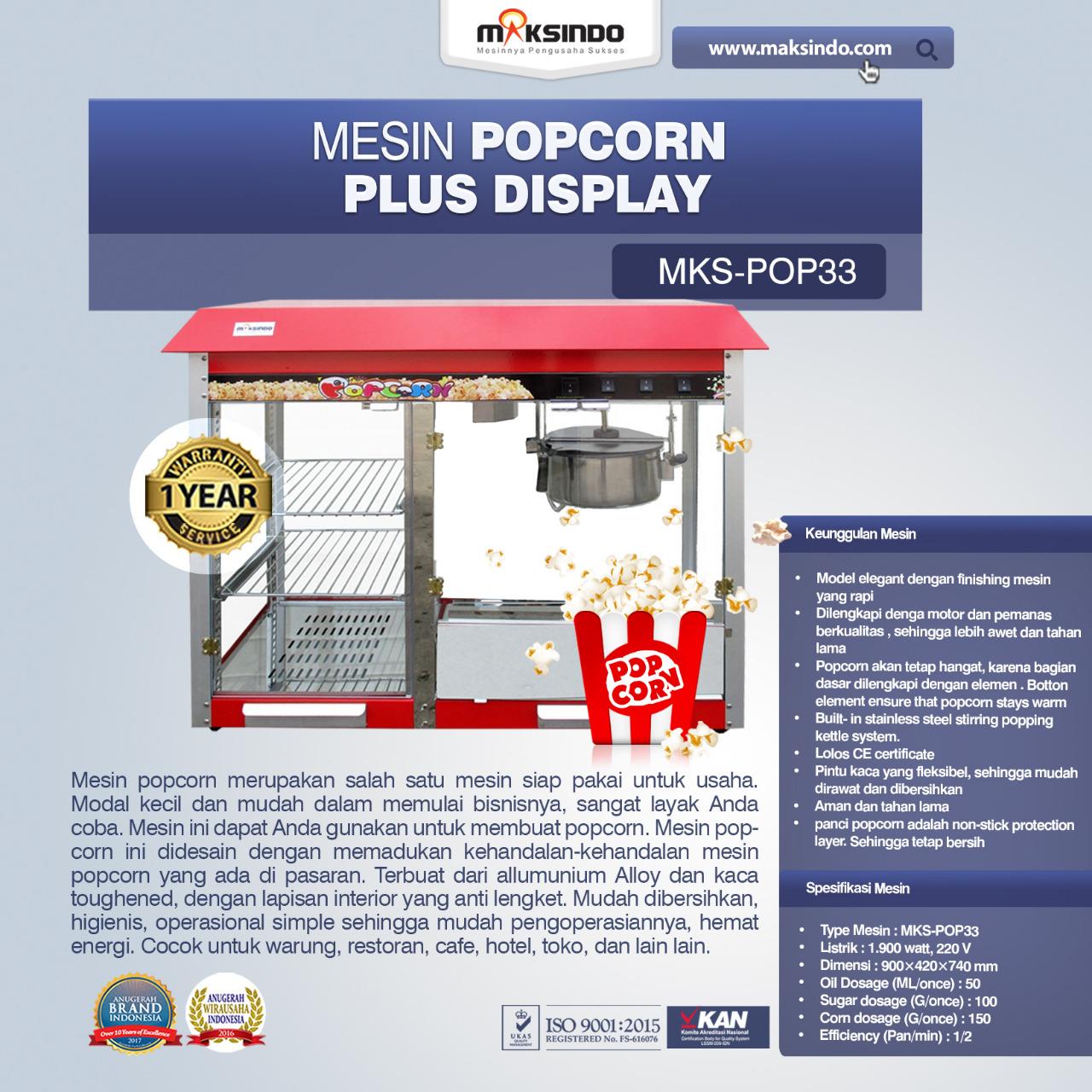 Jual Mesin Popcorn Plus Display (POP33) di Bogor
