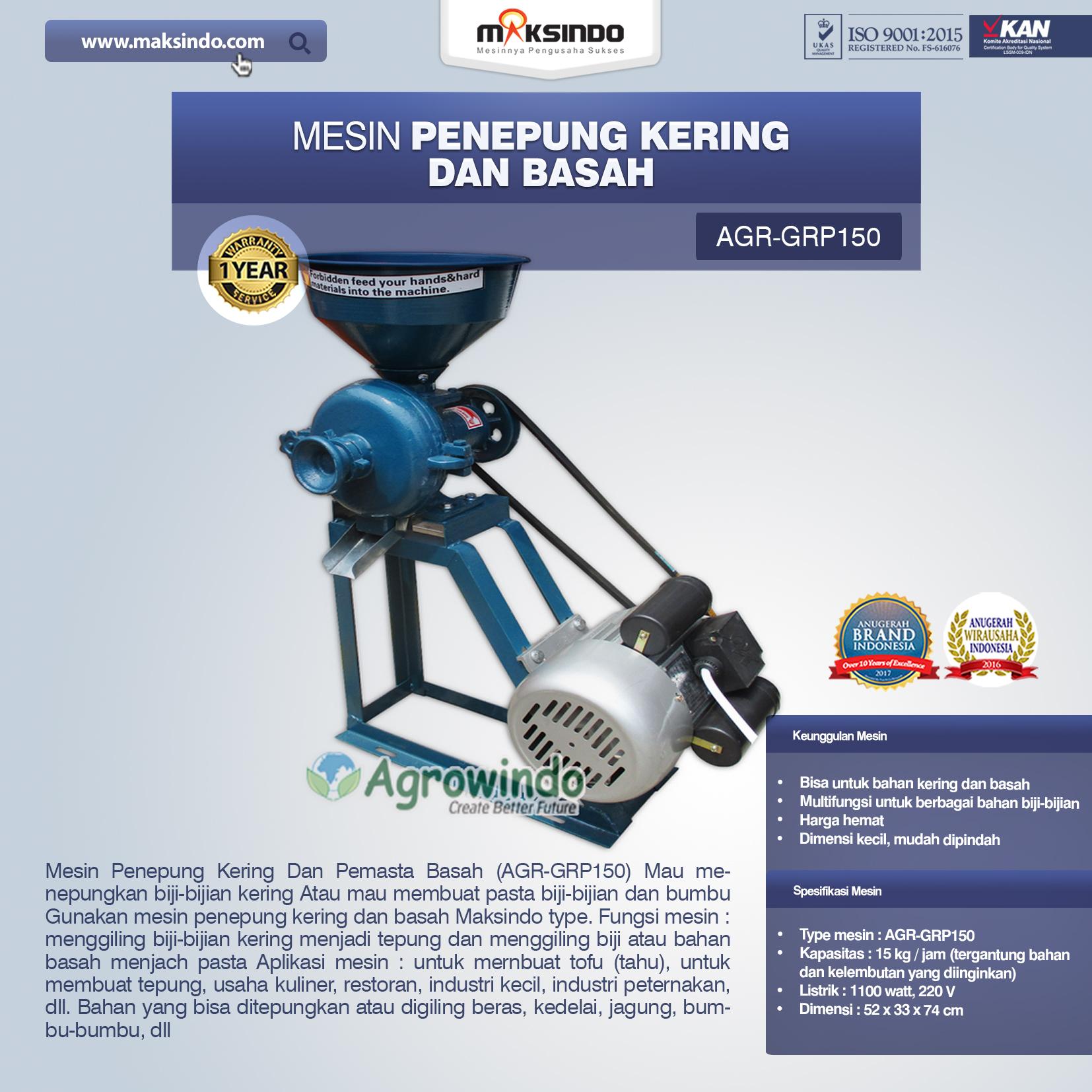Jual Mesin Penepung Kering dan Basah (GRP150) di Bogor