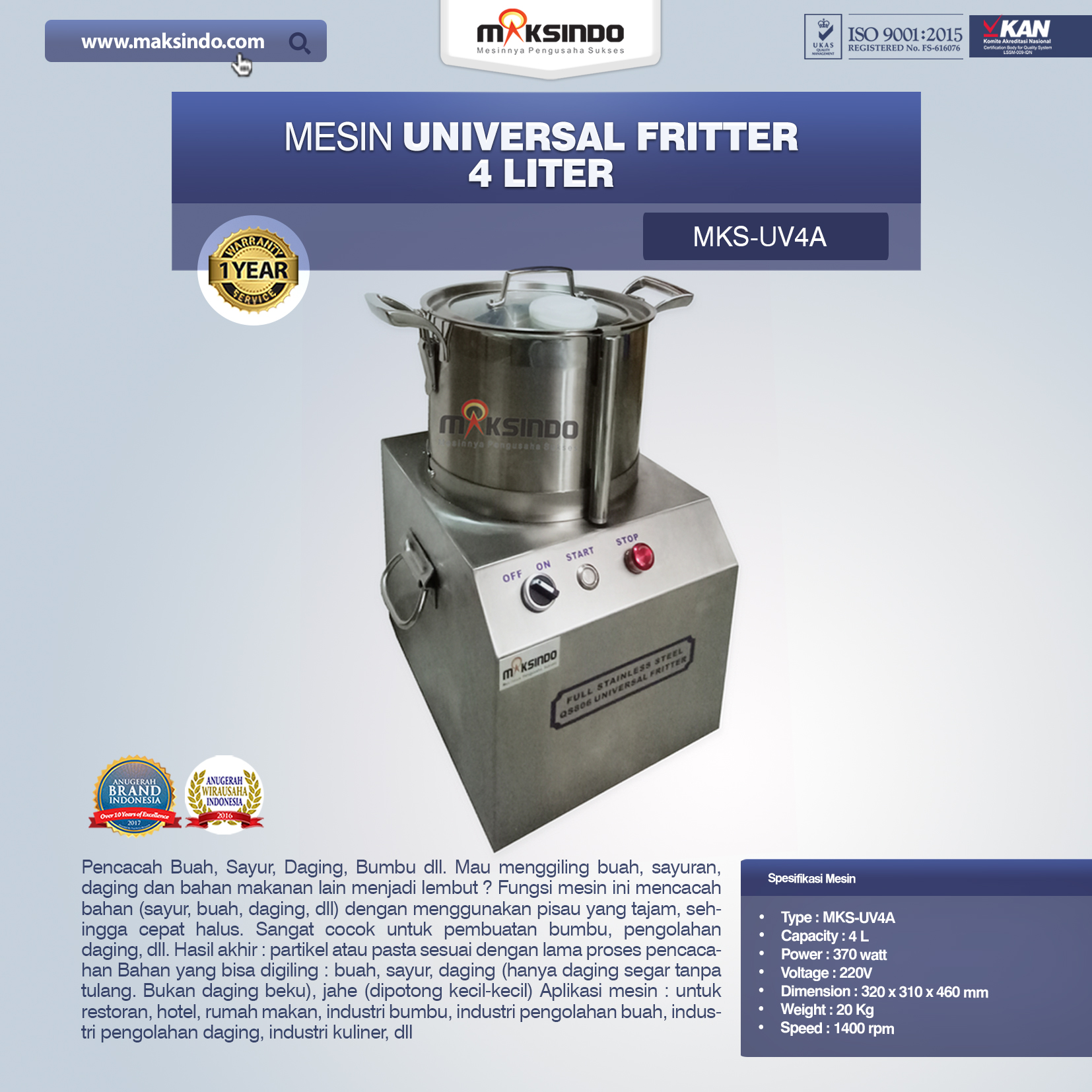 Jual Universal Fritter 4 Liter (MKS-UV4A) di Bogor