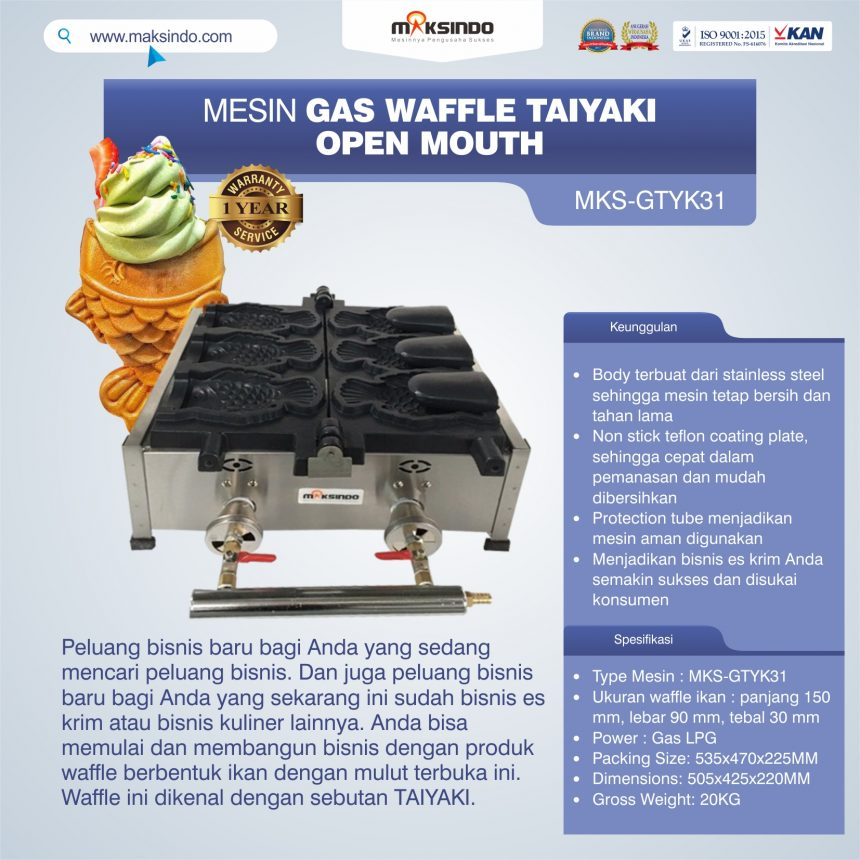 Jual Mesin Gas Waffle Taiyaki Open Mouth (GTYK31) di Bogor