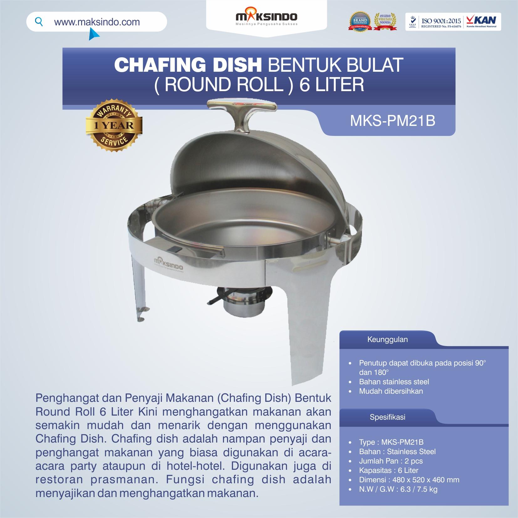 Jual Chafing Dish Bentuk Bulat (Round Roll) 6 Liter di Bogor