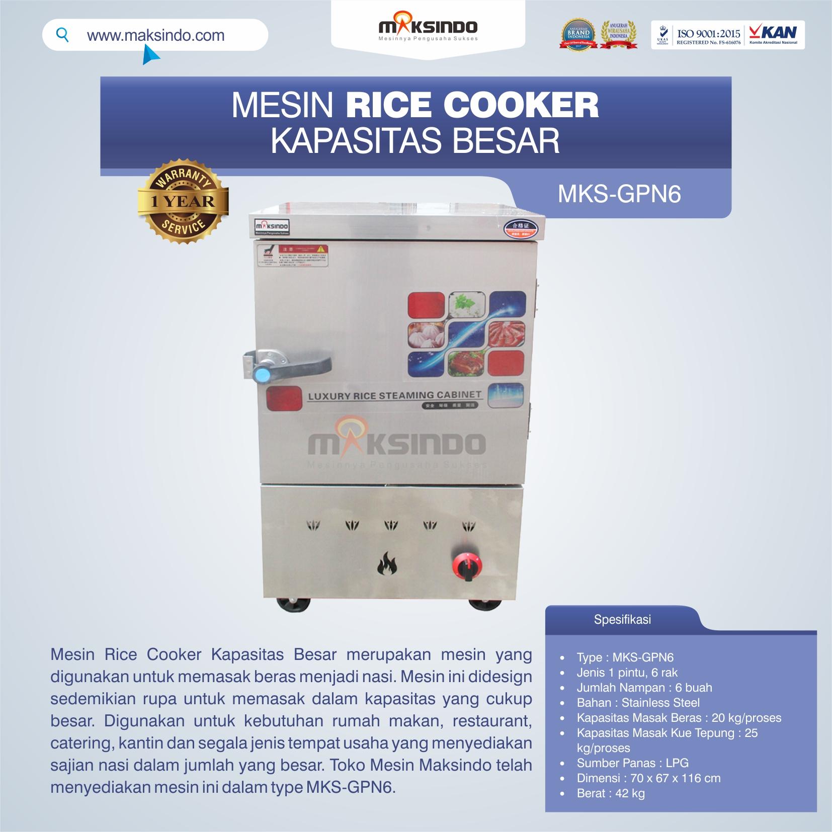 Jual Mesin Rice Cooker Kapasitas Besar MKS-GPN6 di Bogor