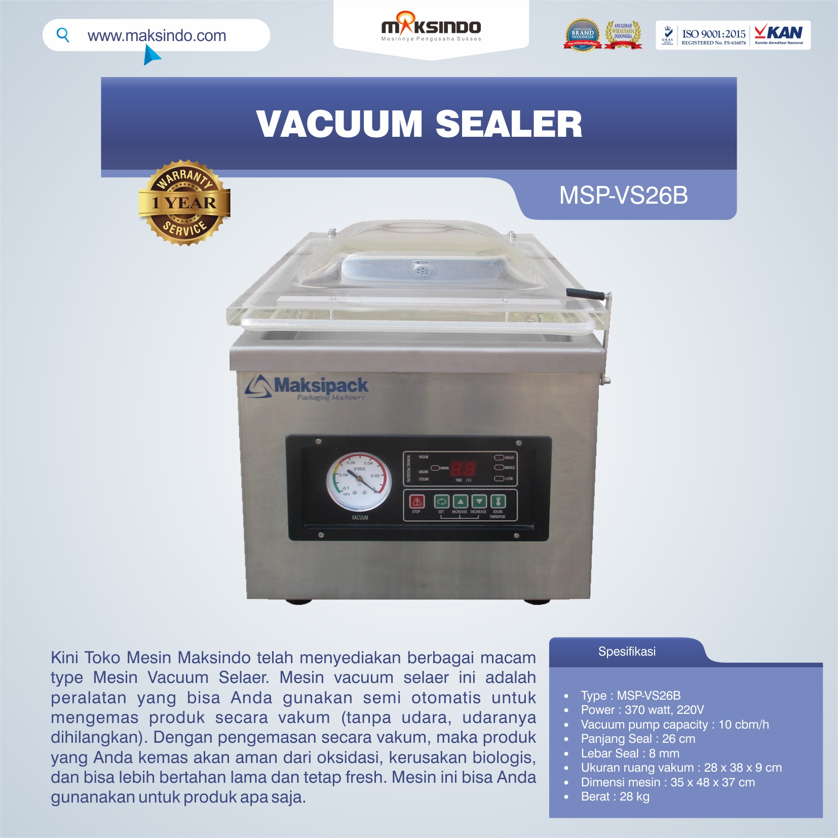 Jual Vacuum Sealer MSP-VS26B di Bogor