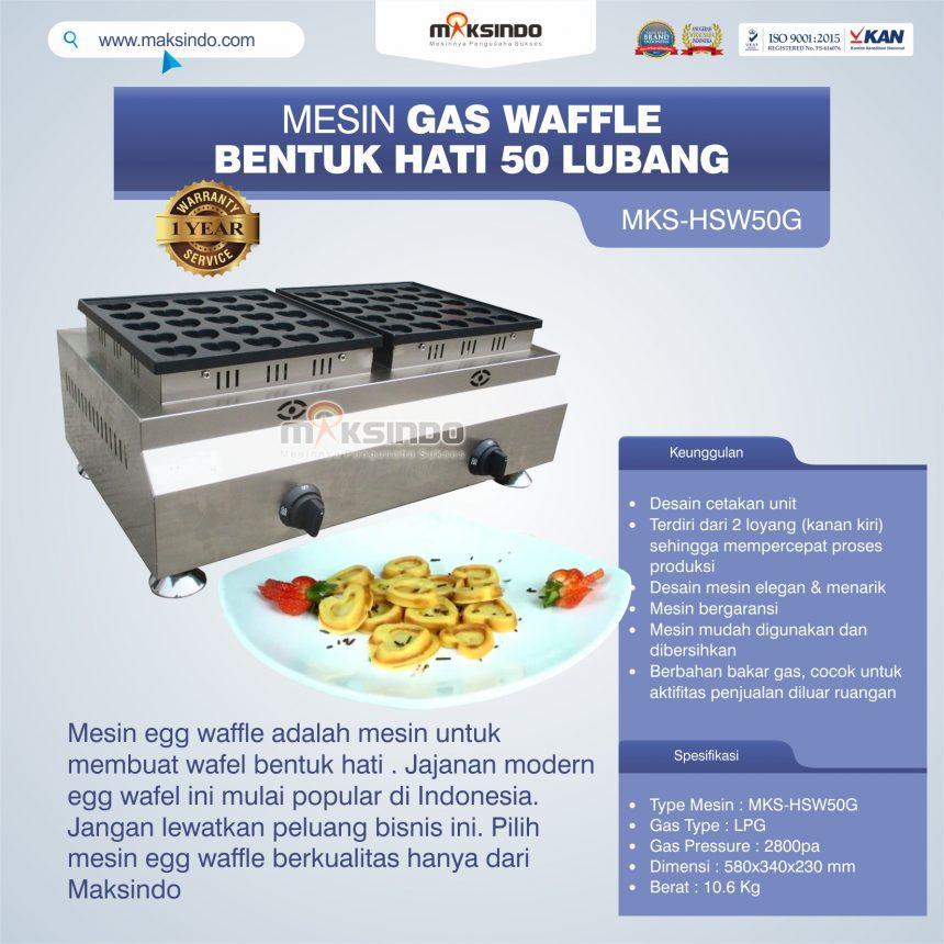 Jual Mesin Waffle Gas Bentuk Hati 50 Lubang MKS-HSW50G Di Bogor