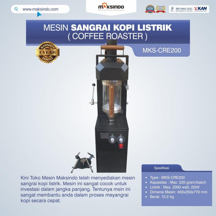 Jual Mesin Sangrai Kopi Listrik (Coffee Roaster) MKS-CRE200 di Bogor
