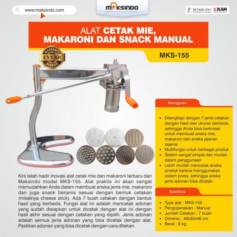 Jual Alat Cetak Mie, Makaroni dan Snack Manual MKS-155 di Bogor