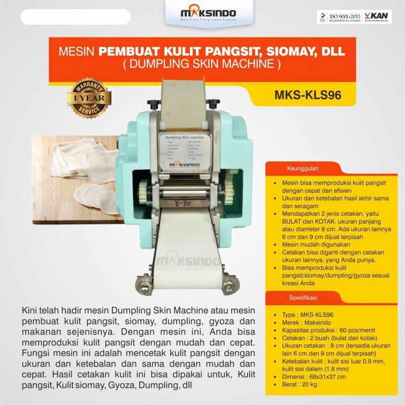 Jual Mesin Pembuat Kulit Pangsit, Siomay, dll (Dumpling Skin Machine) MKS-KLS96 di Bogor